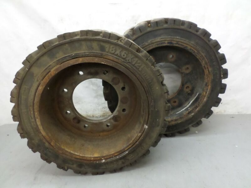 Wide Track 18 x 6 x 12 Forklift Tires 2 Used Mounted To rims