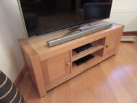 Quality TV Stand Solid Oak Storage Areas Shelves