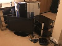 """Samsung 32"""" TV, DVD player and stand"""