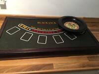 Personal roulette blackjack wooden table