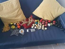 mixture of Christmas baubles