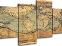 New Vintage World Map Atlas Huge Canvas Art Print Box Framed Picture Wall Hanging In 4 sections