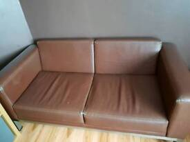 Brown 2 seater sofa and armchair