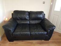 Black leather sofa 3 and 2 seater