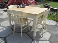 Shabby Chic Solid Pine Chunky Oblong Farmhouse Country Table and 4 Chairs In Farrow & Ball Cream 67