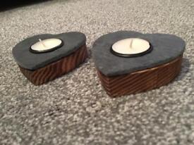 Wood and slate tea light holders