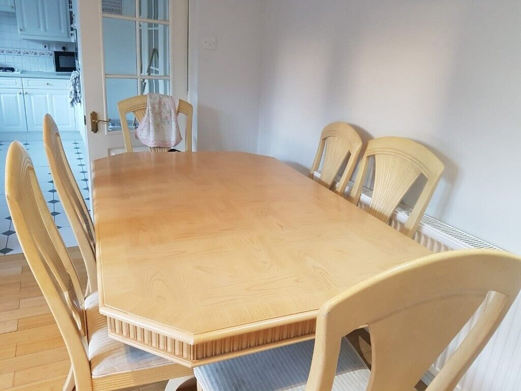 For Sale Light Oak Dining Table And 6 Chairs Leeds