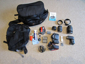 Canon EOS 20D complete camera kit – lens, flash gun and accessories