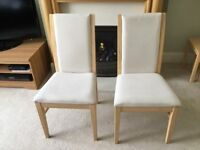 TWO DINING ROOM CHAIRS NEUTRAL TONE