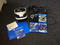 Sony PlayStationVR headset and 3 games