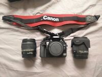 Used Canon 400d camera with 2 lens + 51GB cards + 3 batteries + battery extension pack