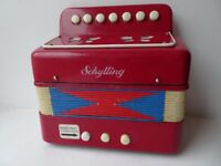 Vintage red white and blue Schylling children's accordion / accordian 1960s 1970s - Ages 7 & up