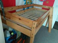 Cabin bed, single bed high sleeper with tent