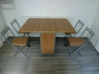 folding butterfly dining table and 4 chairs set
