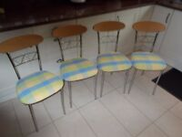 A SET OF FOUR MODERN ITALIAN MADE KITCHEN CHAIRS, RECENTLY UPHOLSTERED, IN VERY GOOD CONDITION.