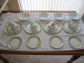 Set of Vintage Melamine dinner plates 9.5 inches diameter, saucers 6.5 inches diameter, bowls 7 inch