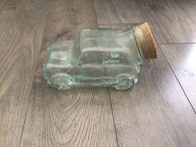 Mini car. glass jar