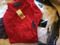 New Mens Ralph Lauren Polos, Big Pony design. Red is XL, white is L.