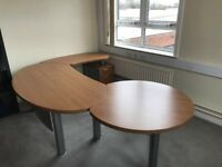 Large 3 Piece Wooden Office Desk With Drawers + Matching Chest of Drawers - Perfect Condition
