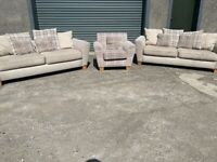 Beige NEXT 3 seater sofas x2 & TARTAN (SOLD PENDING DELIVERY )