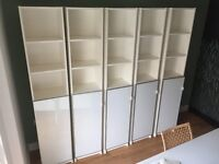 5x IKEA Billy bookcase with Morlinden door RRP £45 (white, 202 x 40 x 28, professionally assembled)