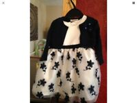 Girls party dress navy& cream colour