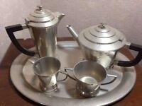Art Deco English Pewter Tea service c1930