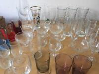 Drinking glass job lot, 40+ glasses including pint, champagne, wine and more