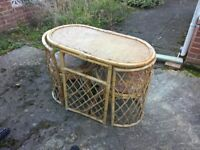 Oval Cane Table and 2 Chairs, Ideal for Conservatory or Patio