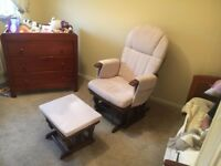 Reclining Glider Nursing Chair and Footstool