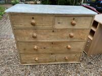 5 drawer old vintage pine chest of drawers with Victorian marble top