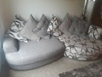 Large fabric 3/4 seater Sofa and Swivel Chair