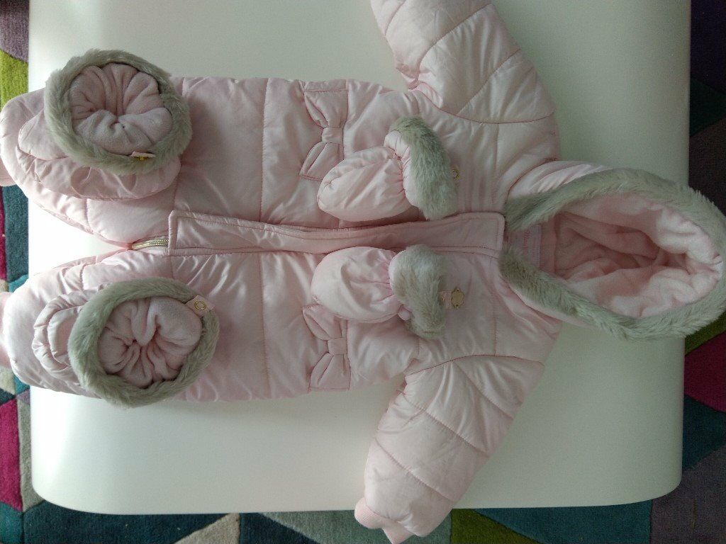 7d56e5557 Mayoral Pink Padded Fleece Lined Hooded Snowsuit with Mittens and ...