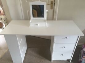 White desk/dressing table & mirror