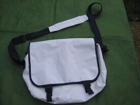 White with Blue Trim Satchel Bag