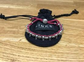 LINKS of London | Sterling Silver & Pink Cord Skull Friendship Bracelet
