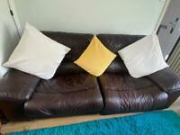 Genuine Leather 1, 2 & 3 Seater Electric Reclining Sofa plus Ottoman with storage.