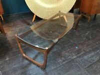 Danish Style Glass Top Coffee Table. Retro Vintage Mid Century