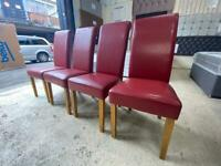 Red faux leather dining chairs set of 4 £100 O.N.O