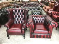 Stunning oxblood leather chesterfield club chair and wingback chair UK delivery