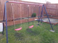 Childs metal framed garden swing