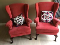 2 x PARKER KNOLL 'fireside' Penshurst Wing Chairs and matching footstool in good condition