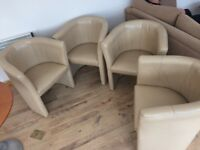 4 Tub Chairs, beige leather - FREE
