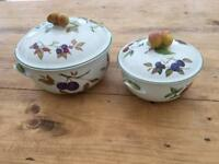 Pair of Royal Worcester Lidded Serving Bowls Evesham Vale pattern