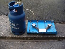 Calor gas bottle and 2 ring hob.