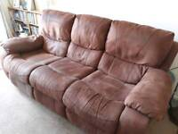 Brown recliner sofa and chair