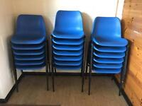 19 Blue Used Stackable Chairs