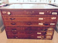 Vintage Wooden Plan Chest / Art Drawers