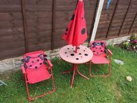 Kids patio table and chairs and parasol set