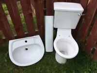 Bathroom wash basin +pedalstal +WC unit and cistern